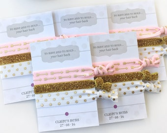 Pink and Gold Hen Party Favors, Bachelorette Hair Ties, Bachelorette Party Decorations, Pink and Gold Bachelorette, Hair Tie Favors