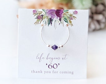 Purple 60th Birthday Party Favors Life Begins At 60 Favor Supplies Swarovski Crystal Wine Charm