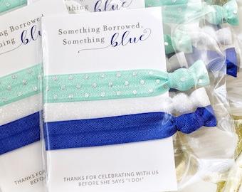 Something Blue Bridal Shower Favors, Unique Bridal Shower Decorations Blue and Silver, Something Blue Bachelorette Favors, Hair Ties