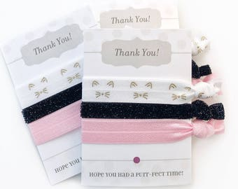 Kitty Cat Party Favors, Kitten Birthday Party Supplies, Goodie Bags, Kitty Party Decorations, Kitten Baby Shower Favors Hair Ties