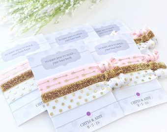 Pink and Gold Bridal Shower Favors, Gold and Pink Bridal Shower Supplies and Decorations, Gold Bachelorette Party, Hair Ties Take Home Gifts