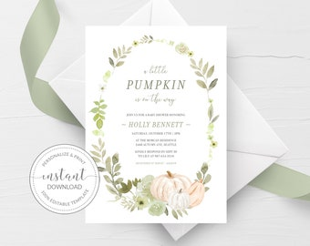 Fall Baby Shower Invite Template, A Little Pumpkin Is On The Way, Printable Fall Baby Shower Invitation Greenery - INSTANT DOWNLOAD PG100