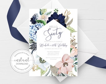 60th Birthday Invitation For Women, Printable 60th Birthday Party Invitation, Navy Blush Floral 60th Birthday Invite, INSTANT DOWNLOAD MB100