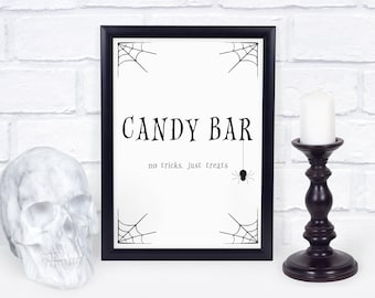 Halloween Candy Bar Sign, Halloween Decorations Printable Sign, Halloween Party Decor, Trick or Treat Sign, INSTANT DOWNLOAD - EDS100