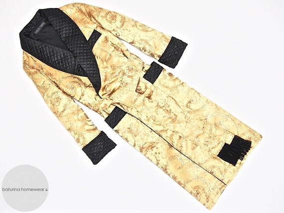 sale on sale attractivefashion Mens Silk Dressing Gown Gold Black Long Robe Quilted Warm Luxury Gentleman  Victorian English Style Full Length British Robes Smoking Jacket