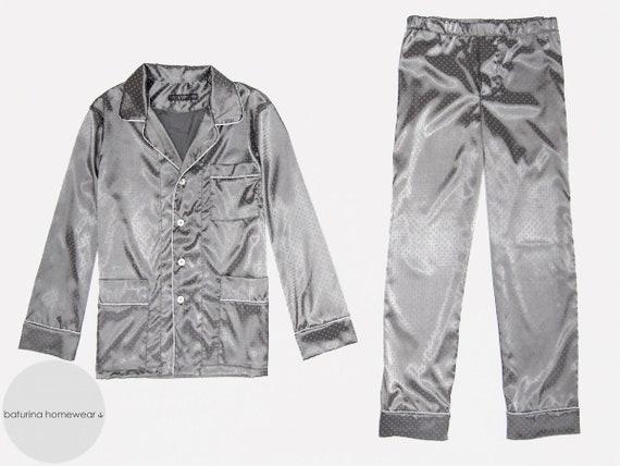 2b3698accd Men s Satin Silk Pajamas Set Silver Gray Traditional