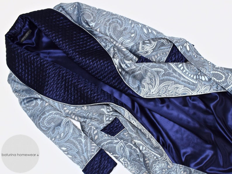 Mens Dressing Gown Paisley Robe Blue Silk Quilted Housecoat Luxury English British Gentleman Victorian Robe Warm Lined Extra Long