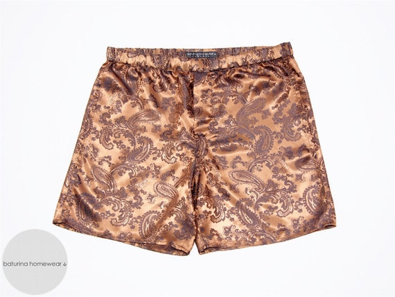 Men's Silk Boxer Shorts Paisley Gold UpnufrO7N