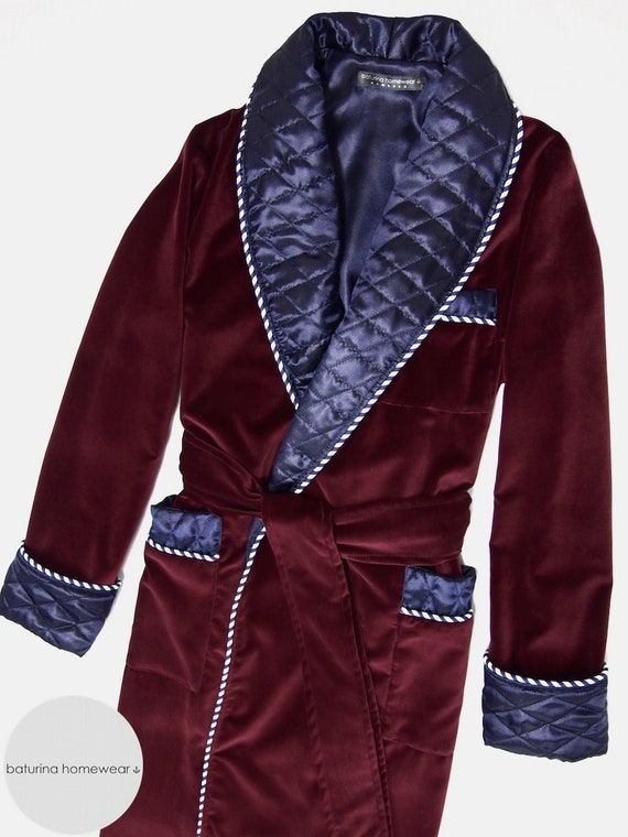 Burgundy Velvet Mens Robe Quilted Dressing Gown Luxury Etsy