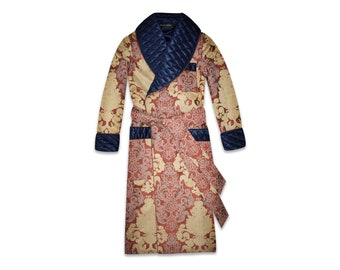 Mens Quilted Silk Robe Navy Blue Gold Dressing Gown Gentleman Smoking Jacket Floral English Vintage Style Classic Housecoat