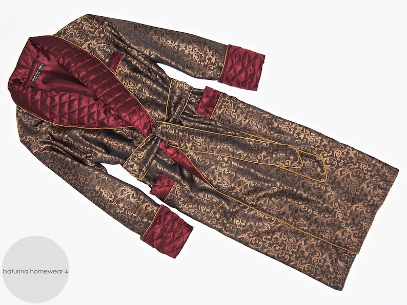 Mens Paisley Silk Robe Gold Red Dressing Gown Quilted Smoking  913ba5964