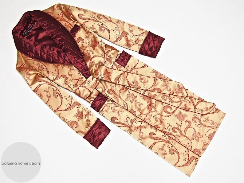 Mens Silk Dressing Gown Robe Paisley Gold Red Quilted Long  54ae3f86d