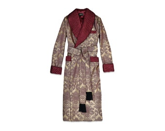 Mens Dressing Gown Burgundy Gold Housecoat Quilted Floral Baroque Paisley English Gentleman Vintage Morning Robe Monogrammed Smoking Jacket