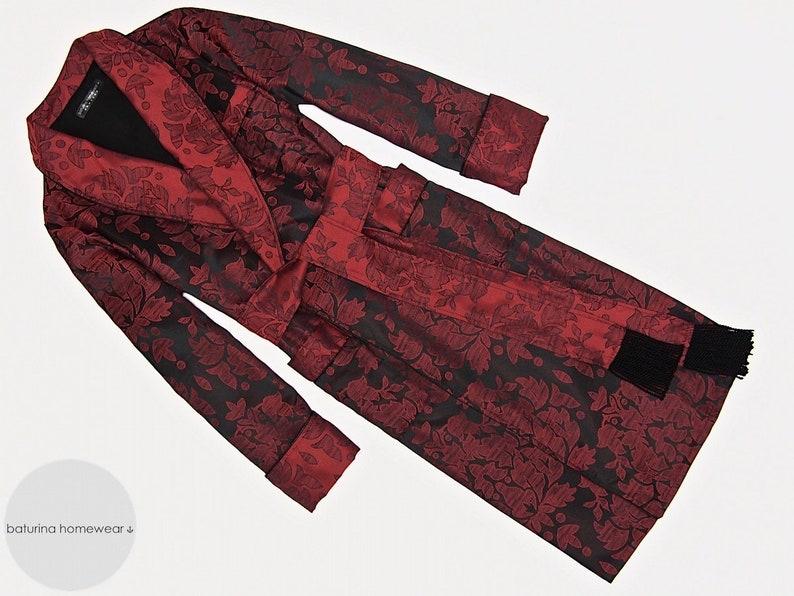 Mens Dressing Gown Paisley Cotton Warm Black Red Long  8d6c7cfb1