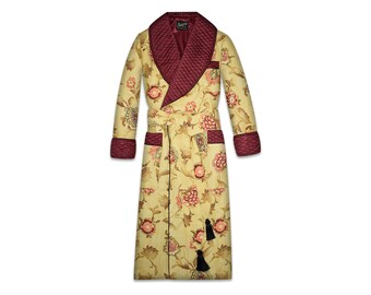 Mens Floral Robe Quilted Dressing Gown Silk Cotton Smoking Jacket Quilted Burgundy Gold Victorian Housecoat Vintage Classic Gentleman Dandy