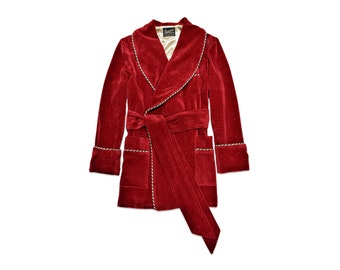 Mens Red Velvet Smoking Jacket Gold Dressing Gown Luxury English Gentleman Vintage Hugh Hefner Morning Robe Monogrammed Housecoat