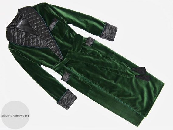 Green Velvet Mens Dressing Gown Heavy Warm Quilted Silk Etsy