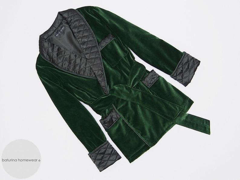 Mens Velvet Smoking Jacket Quilted Silk Gentlemans Morning Robe with Monogram Dressing Gown