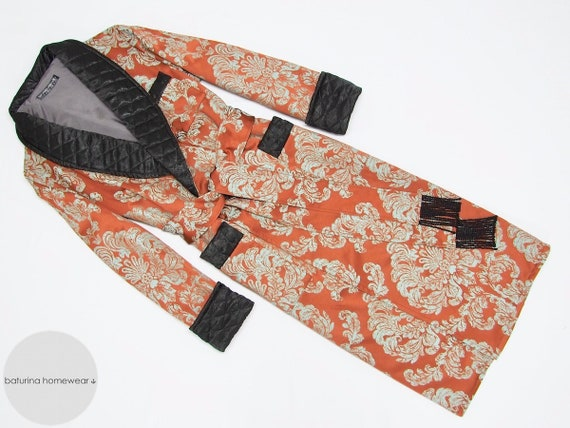Mens Dressing Gown Warm Paisley Cotton English Style Classic  3f8ffe327