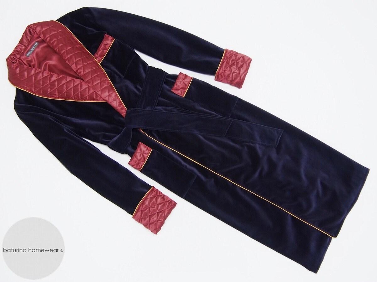 Navy Velvet Men\'s Dressing Gown Heavy Warm Quilted Silk | Etsy