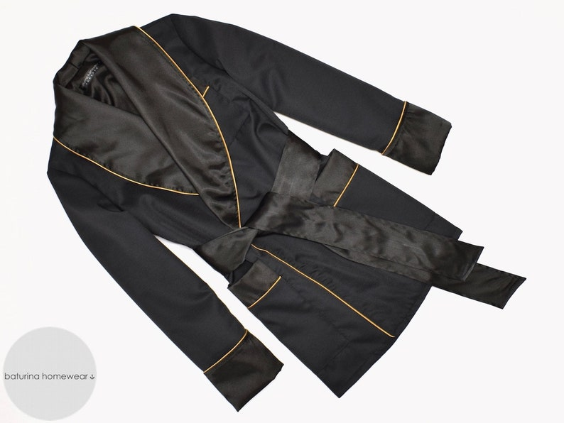 wide varieties classic chic top-rated newest Mens Silk Robe Smoking Jacket Black Gold Vintage Style Old Fashioned  Gentleman Dressing Gown Lightweight Lined Soft Warm