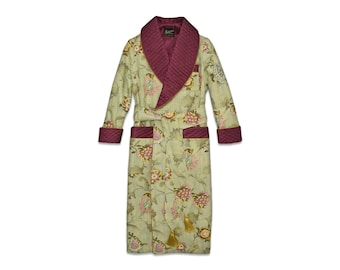 Mens Floral Dressing Gown Robe Silk Cotton Smoking Jacket Quilted Green Burgundy Gold Victorian Housecoat Vintage Classic Gentleman Dandy