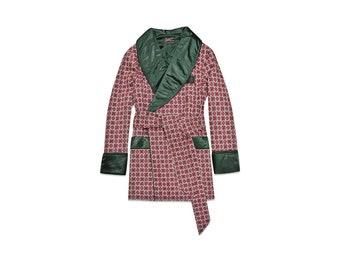 Mens Silk Smoking Jacket Burgundy Green Dressing Gown Maroon Red Luxury English Gentleman Vintage Hugh Hefner Robe Monogrammed