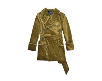Mens Olive Green Velvet Smoking Jacket Green Dressing Gown Luxury English Gentleman Vintage Hugh Hefner Morning Robe Monogrammed Housecoat