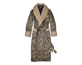 Mens Silk Dressing Gown Gold Black Housecoat Quilted English Gentleman Vintage Morning Robe Monogrammed Smoking Jacket Dandy