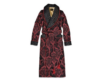 Mens Dressing Gown Burgundy Black Gold Quilted Housecoat Floral Paisley English Gentleman Vintage Morning Robe Monogrammed Smoking Jacket