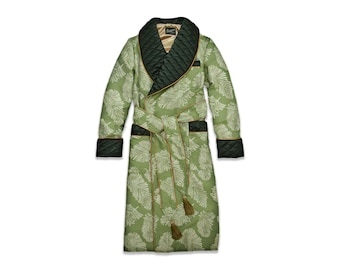 Mens Quilted Silk Robe Dressing Gown Smoking Jacket Dark Green Paisley Floral Cotton Jacquard Warm Long Silk Quilted Warm Extra Long