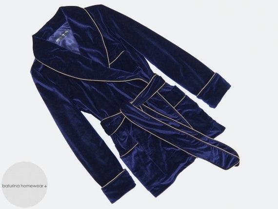 Womens Velvet Smoking Jacket Robe Navy Blue Ladies Vintage  c955cd48a1