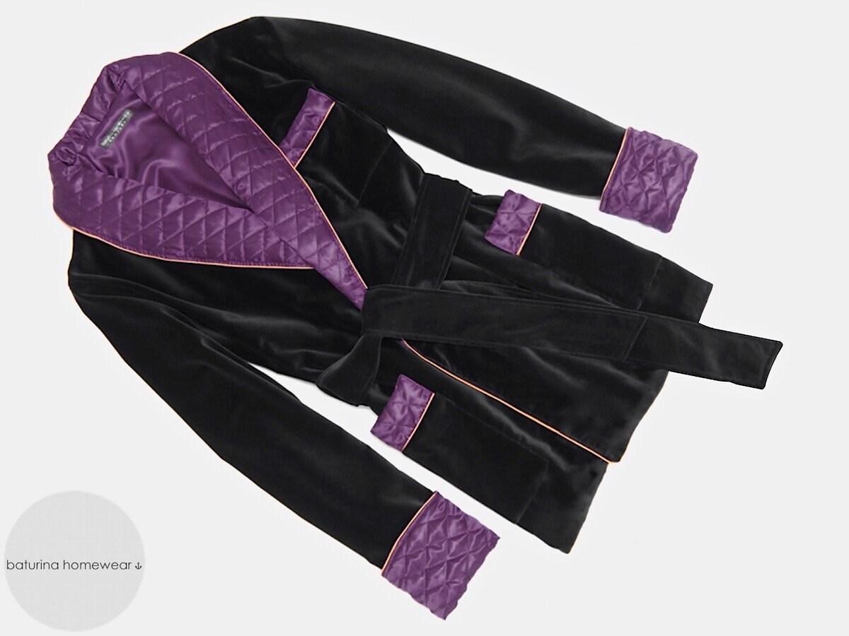 Velvet Men\'s Smoking Jacket Black 1800s Robe Purple | Etsy