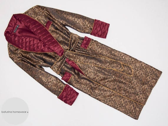 Mens Dressing Gown Gold Burgundy Paisley Silk Baroque Red Etsy
