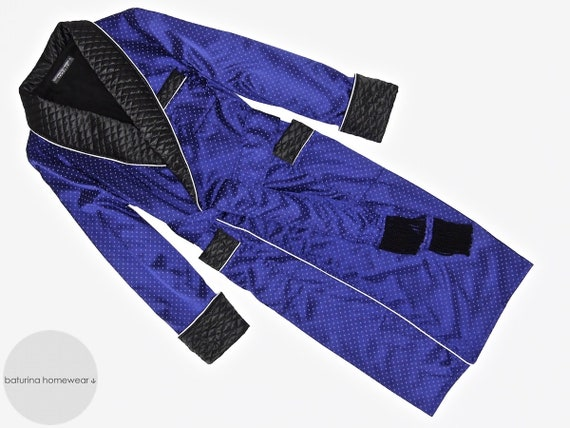 Mens Silk Dressing Gown Quilted Collar Vintage Gentleman Robe  808657ad7