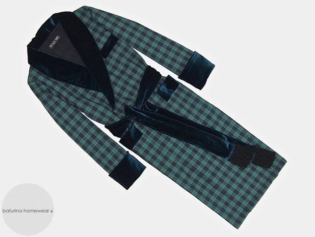 Men\'s Luxury Robe Dressing Gown Velvet Cotton Dark Blue | Etsy