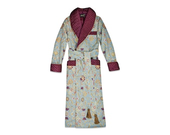 Mens Silk Dressing Gown Blue Gold Burgundy Cotton Housecoat Quilted English Gentleman Vintage Morning Robe Monogrammed Smoking Jacket Dandy