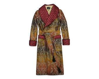 Mens Dressing Gown Paisley Robe Burgundy Gold Quilted Housecoat Luxury English British Gentleman Victorian Robe Warm Lined Extra Long