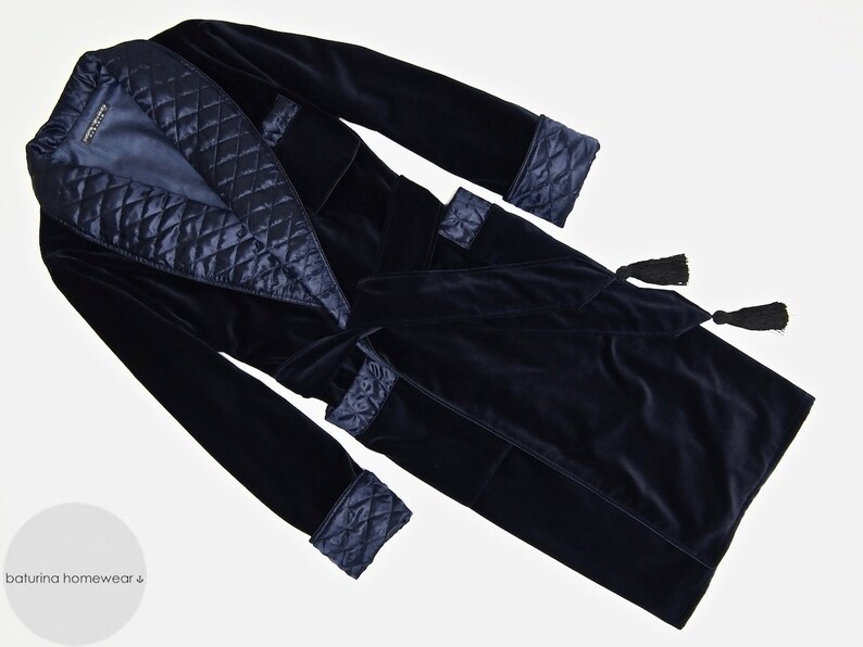 3b2069acfe0 Mens Velvet Dressing Gown Quilted Smoking Jacket Robe Dark