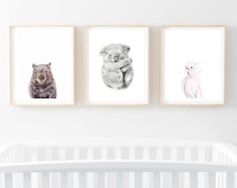 Set of 3 prints nursery wall art koala wombat cockatoo pink nursery decor baby girl baby shower gift baby boy baby gift woodland