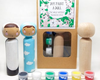 DIY kit, DIY,  craft kit, peg dolls, peg doll, starter kit, gifts for her, DIY nursery decor, diy gift, diy gift idea