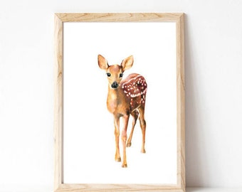 deer art print, nursery art print, forest animal art, wall decor, art prints,nursery art girl, woodland nursery, woodland baby shower