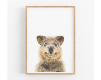 Woodland Animal Nursery Wall Art, Quokka Print, Australian Animals, Animal Nursery Prints, Kids Wall Art, Baby Shower Gift