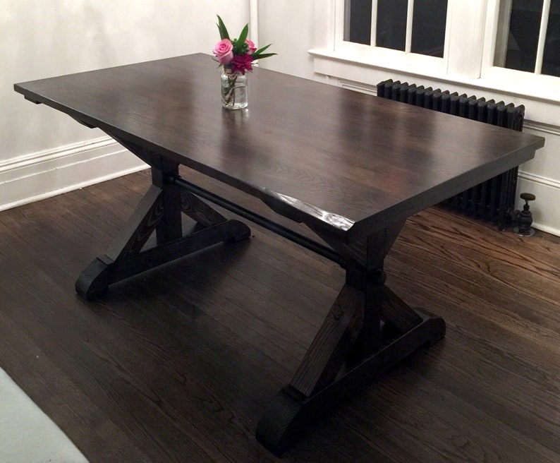 How To Make A Kitchen Table Top Delectable Rustic Trestle XTable White Oak Tabletop Over Pine Base 6124 6