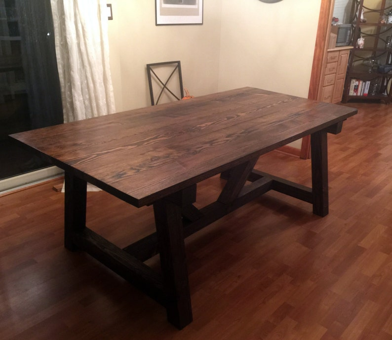 How To Make A Kitchen Table Top Gorgeous Farm Style Trestle Table White Oak Tabletop Over Pine Base 405 5