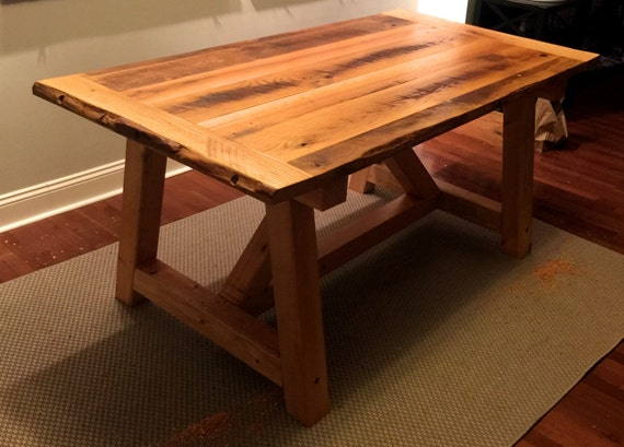 Farm Style Trestle Table Reclaimed Red Oak Tabletop Over Pine Etsy - Red oak table top