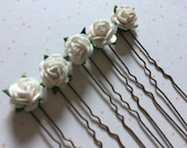 10 x Small ivory mulberry 1cm rose flower hair pins grips accessories bridesmaid bride occasions