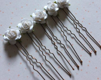 Small hair flowers etsy 10 x small white mulberry 1cm rose flower hair pins grips accessories bridesmaid bride occasions mightylinksfo
