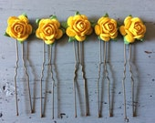 5 x Golden yellow mulberry rose flower hair pins grips accessories bridesmaid bride occasions