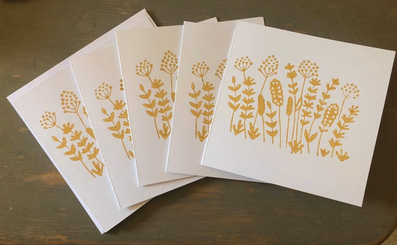 Pack of 5 Handmade cow parsley dandelion hedgerow wild flowers mustard yellow white  blank note cards